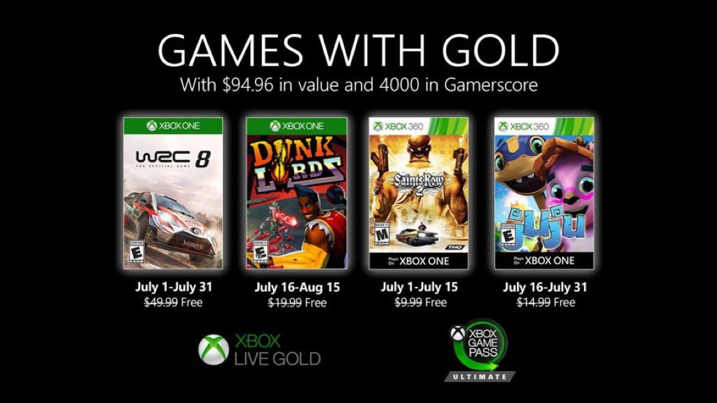Xbox Live Games with Gold July 2020