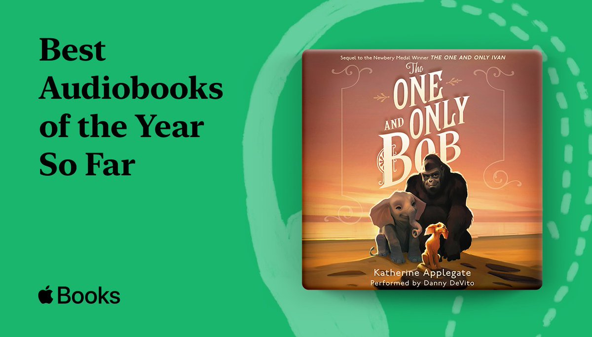 Anchored by a world-class performance from @DannyDeVito, THE ONE AND ONLY BOB by @kaaauthor has been named by @AppleBooks as one of the Best Audiobooks of the Year so far! Check it out here: https://t.co/71zuvv5asS https://t.co/HJXqtnIaO8