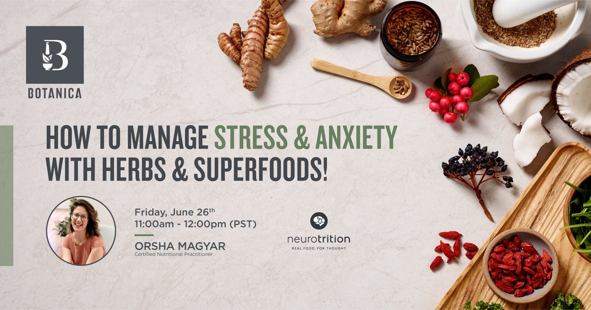 WEBINAR ALERT! Don't forget to secure your spot for our online webinar. You'll learn about the best herbs and foods to help manage stress and anxiety, led by Certified Nutritional Practitioner Orsha Magyar. Join us: https://t.co/0C2W7RaPd9 https://t.co/gWbb5RGGI3