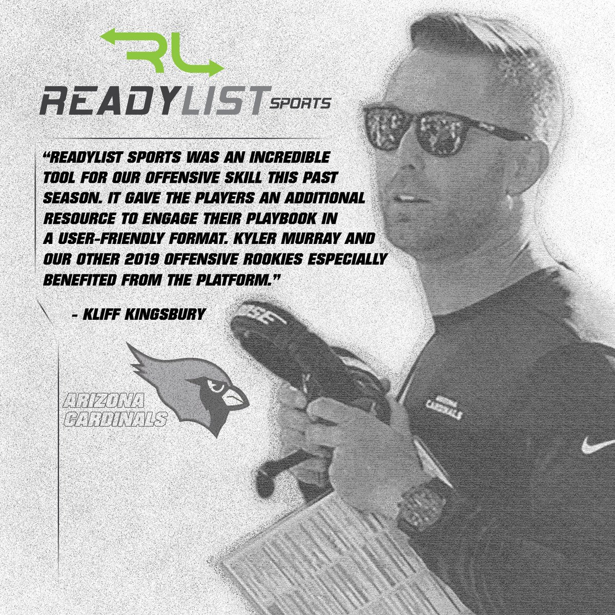 We were pleased to witness how our playbook and learning app helped the Arizona Cardinals. We can help your team, too. Follow this link: https://t.co/W3mxeSqFz1  Check the graphic to see what head coach Kliff Kingsbury had to say ⬇️ #Playbook #NFL #Cardinals https://t.co/xkegzRDXUq