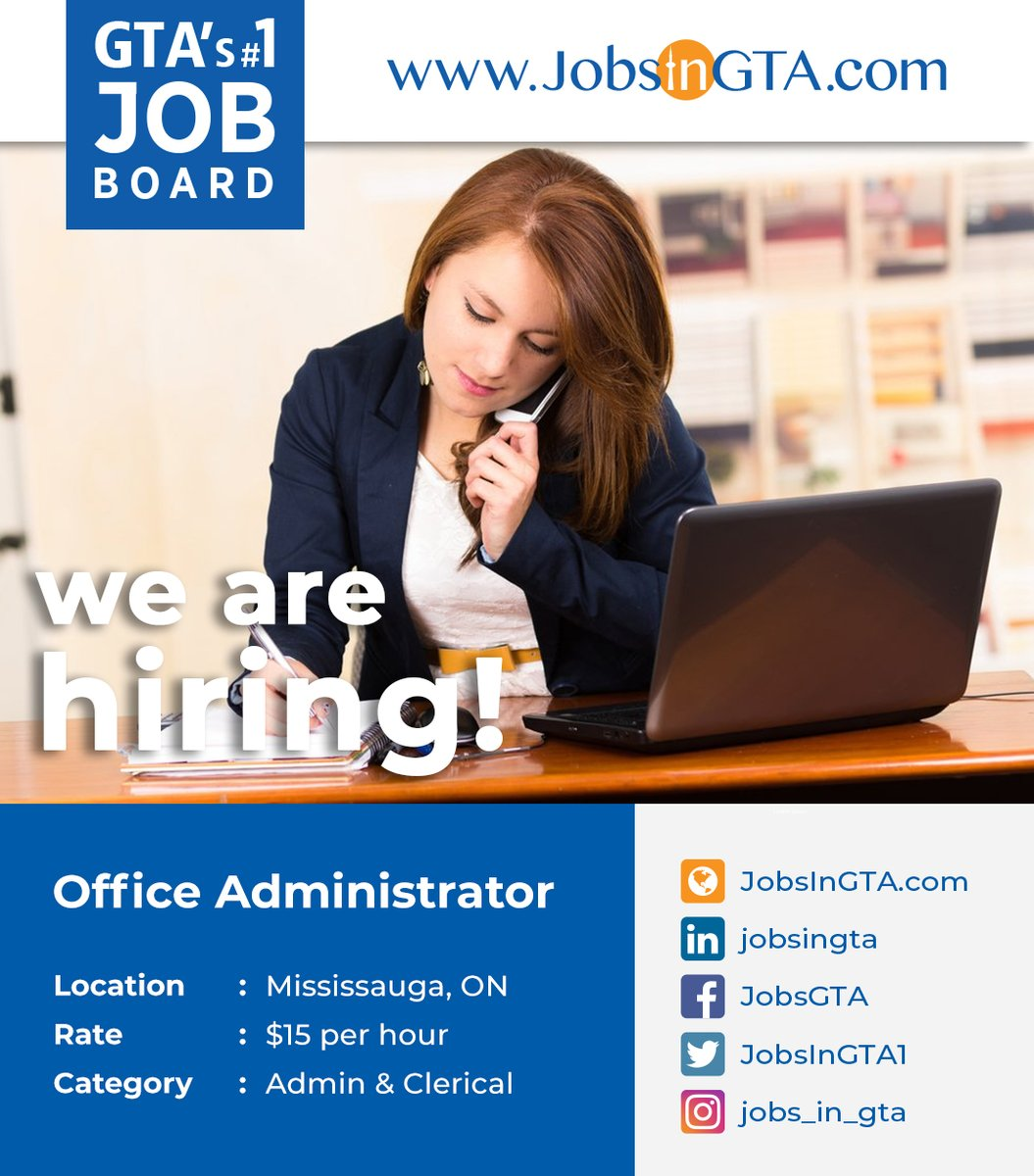 We're hiring ! We're looking for Office Administrator Apply: https://t.co/UhNuaDx8Eo  #JobsInGTA #AdminJobs #Vacancy #OfficeAdmin #ClericalJobs #Hiring #Jobs #TorontoJobs #ThursdayMotivation #Ontario #GTA #Mississauga #Canada https://t.co/dj6xLN1EeO