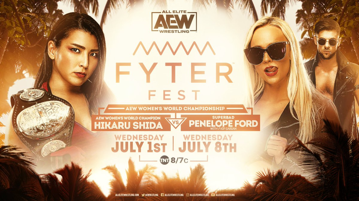 The #AEW Womens Championship is on the line as the challenger @thePenelopeFord goes up against the champion @shidahikaru. Watch night one of #FyterFest for FREE on Wednesday, July 1st at 8e7c on @TNTDrama.