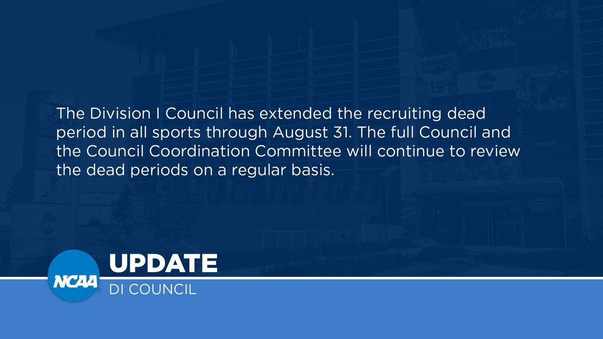 The Division I Council has extended the recruiting dead period: https://t.co/cGExRdbLrl https://t.co/se3BFgg8wY