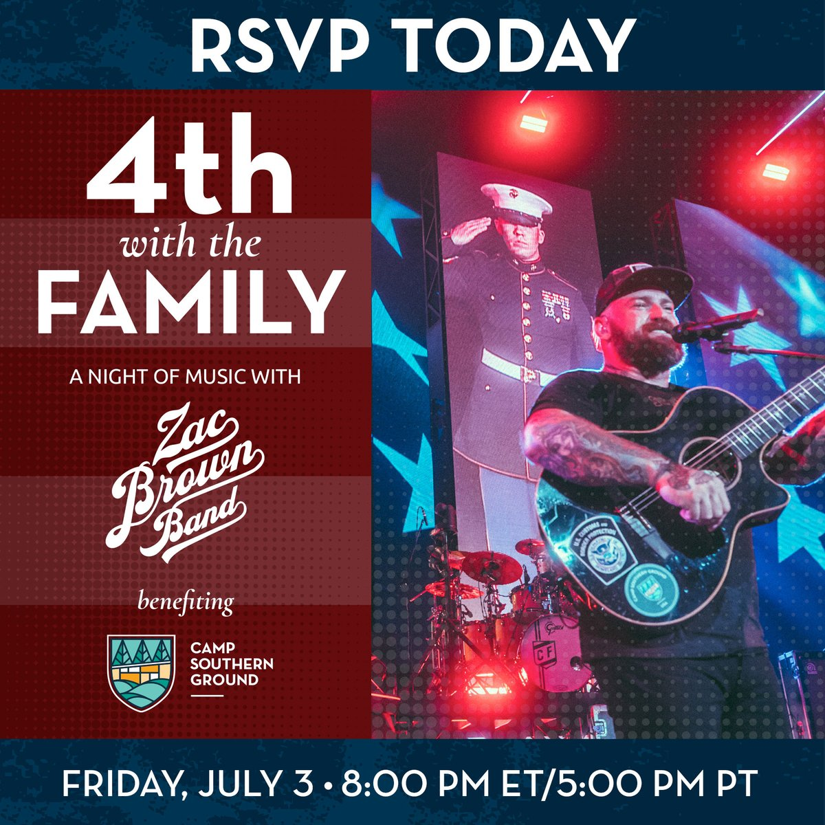 Don't miss @zacbrownband performing together for the first time since their Spring 2020 tour was canceled, all to support our veteran programs!   RSVP: https://t.co/iP0fmprwFm DONATE: https://t.co/XmTkllVmZr  Thank you to sponsors @earthlink, @Lovesac, & Johnny Mac Soldiers Fund. https://t.co/SPmhBJ5HXg