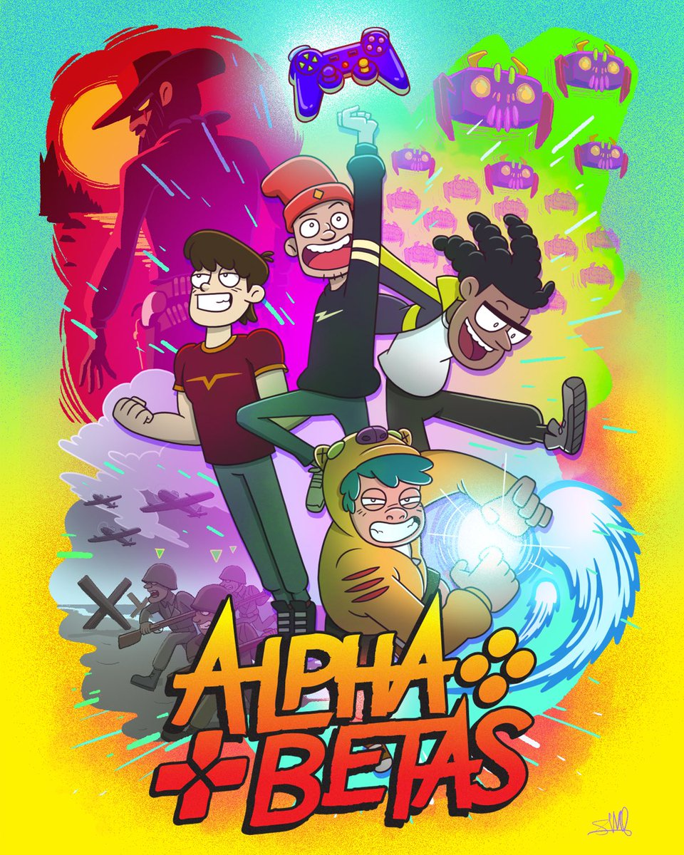 """I'VE KEPT THIS A SECRET FOR SO LONG! Ecstatic to announce @i_am_wildcat,  @vanossgaming, @terroriser and I are working on a brand new animated series  """"ALPHA BETAS"""" produced by @3BLACKDOT @StarburnsInd. SOON!   Sign up for info: https://t.co/uJ7gV68JmT https://t.co/IwBdZeg6li"""