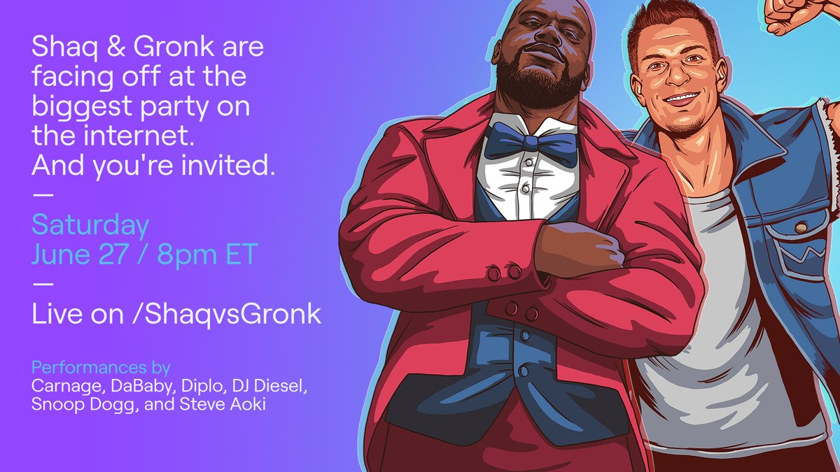 Shaq & Gronk (& Snoop & Diplo and more) cordially invite you to the biggest party maybe ever.  All proceeds go to the Boys & Girls Club of America and NAACP Empowerment Programs. Join the party June 27 at 8pm ET on https://t.co/CdY2uXwpGA. https://t.co/i91REqpoQz