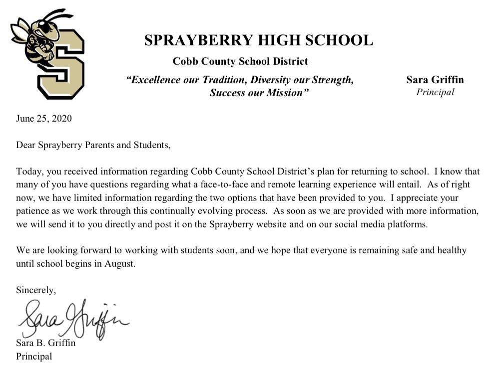 From Ms. Griffin regarding the start of the 2020-2021 school year! #shspositiveposting #wearesprayberry