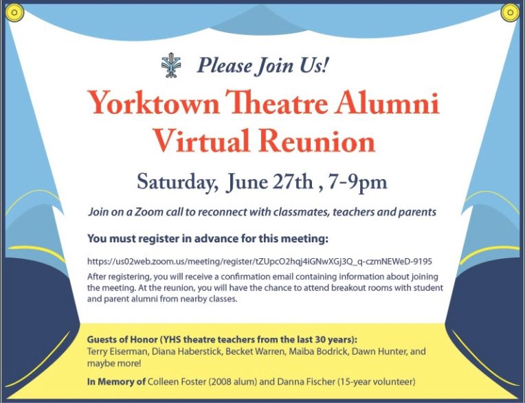 The YHS Theatre Arts Zoom Reunion is this Saturday 6/27 at 7pm!  Pls register in advance - <a target='_blank' href='https://t.co/51f3Q0owpb'>https://t.co/51f3Q0owpb</a> <a target='_blank' href='https://t.co/TVqpCa1d4n'>https://t.co/TVqpCa1d4n</a>