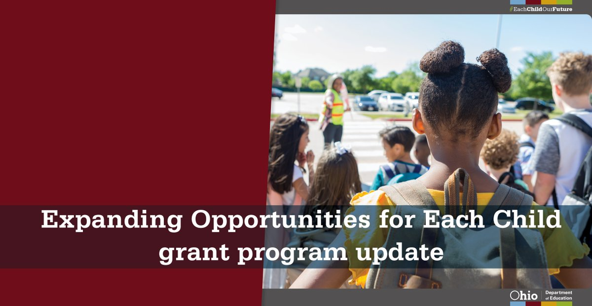 Working to increase access to and enrollment in advanced coursework, career pathways, personalized learning and more!  The Expanding Opportunities for Each Child program is a noncompetitive grant for state Fiscal Year 2021.  Visit  http:// education.ohio.gov/Media/Ed-Conne ction/June-22-2020/Expanding-Opportunities-for-Each-Child-grant-progr  …  to learn more! #OhioEd <br>http://pic.twitter.com/3LNlNEUbbe