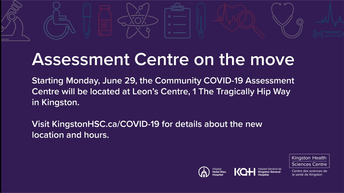 test Twitter Media - The COVID-19 Assessment Centre at the Memorial Centre is open June 25 & 26, 9 a.m. to 4 p.m. & June 27, 9 a.m. to 12:30 p.m. Closed June 28. Re-opening at Leon's Centre June 29, where regular hours will be 9 a.m. until 4 p.m. daily. #ygk #myKHSC https://t.co/TPfcMzlB3Q