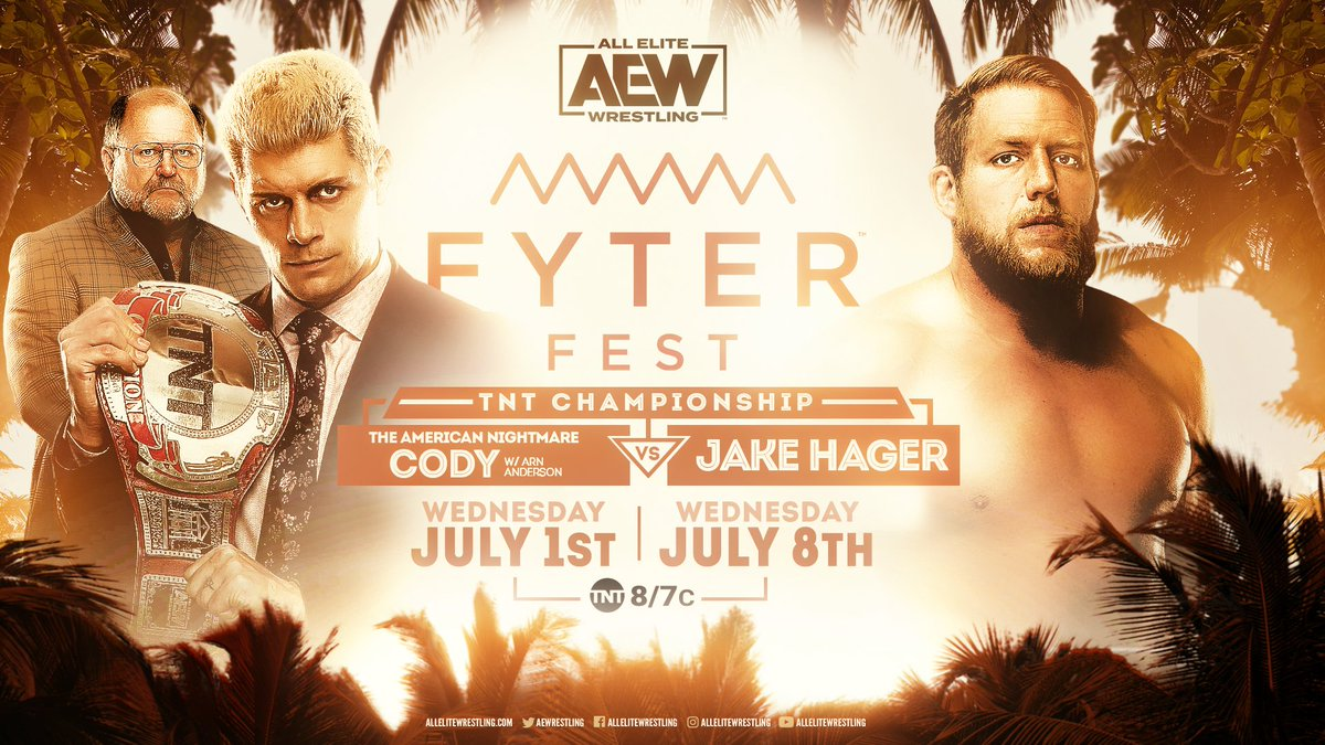 Tensions ran high during the press conference on Dynamite between these two athletes. Next week at #FyterFest @CodyRhodes defends his #TNTChampionship against @RealJakeHager! Watch night one of #FyterFest for FREE on Wednesday, July 1st at 8e7c on @TNTDrama.