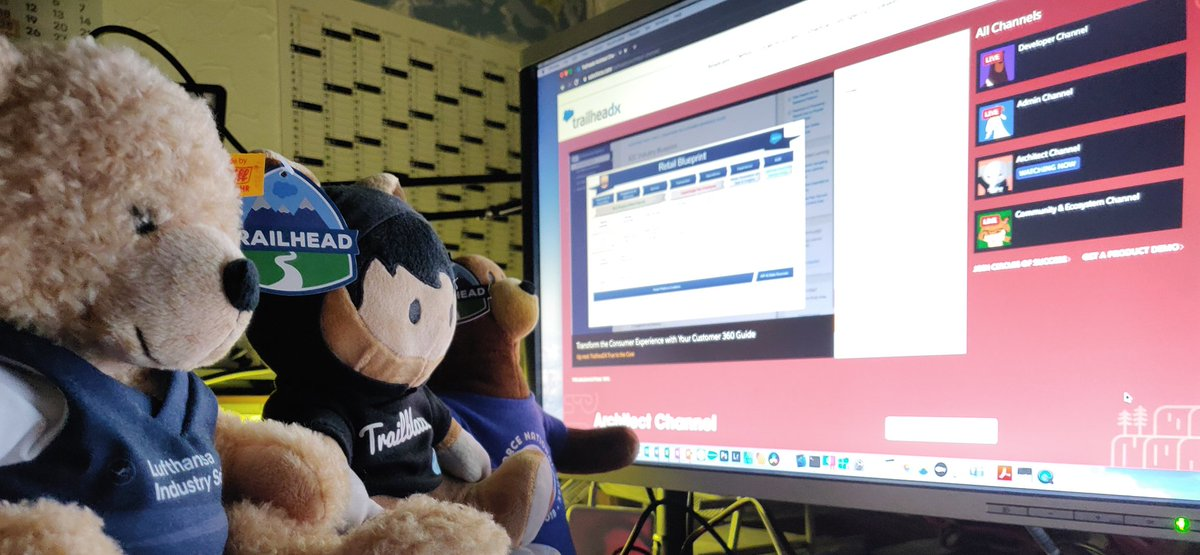 Codey, Astro and LHIND-Teddy are having a watch-party for #TDX20. Can't wait for #TrueToTheCore! @salesforce @SalesforceDE @LHIND_DLH @trailhead https://t.co/qI1VObXNVQ