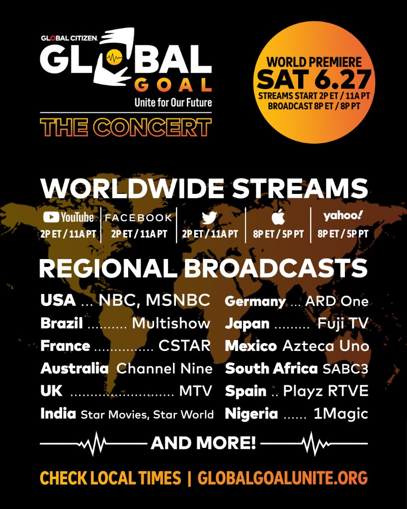 The #GlobalGoalUnite Concert is this Saturday at 8pm ET on @nbc! The concert will feature music performances, expert insights, and commitments from government & corporate leaders to support the COVID-19 response. Check your local listings to tune in: glblctzn.me/UniteForOurFut…