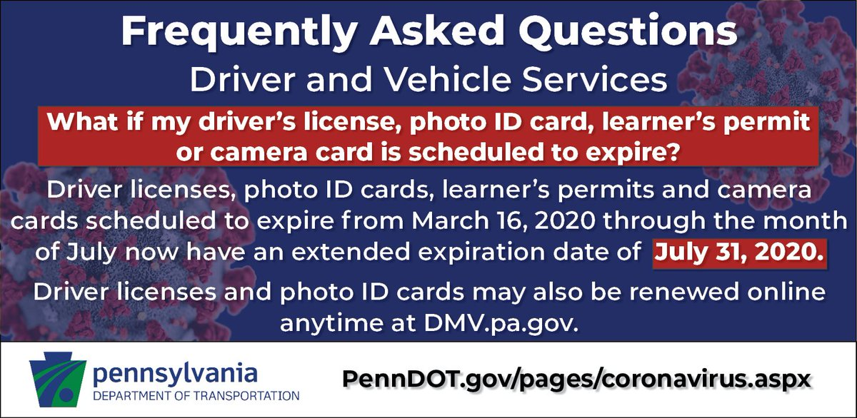 We're further extending the expiration dates for ✅ Driver's licenses ✅ Photo IDs ✅ Learner's permits ✅ Camera cards Products expiring from March 16 through the month of July have an extended expiration date of July 31, 2020.  Details ➡️ https://t.co/vy9gsclmmT https://t.co/80kps3ZSM0