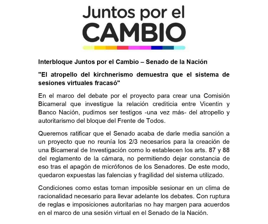 Volvieron las malas prácticas de @CFKArgentina. No le dió la palabra a los representantes de @juntoscambioar en el Senado y votó una ilegítima comisión investigadora. Tienen un solo objetivo: buscar impunidad. https://t.co/lZzaxre6qI