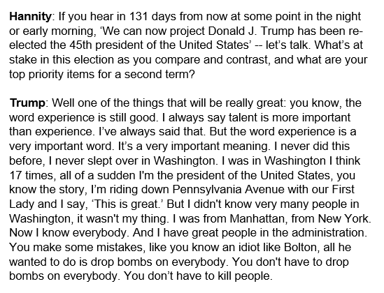 Here's the transcript of Trump's response when he was asked what are his top priorities for a second term. https://t.co/XKMawRiXFs