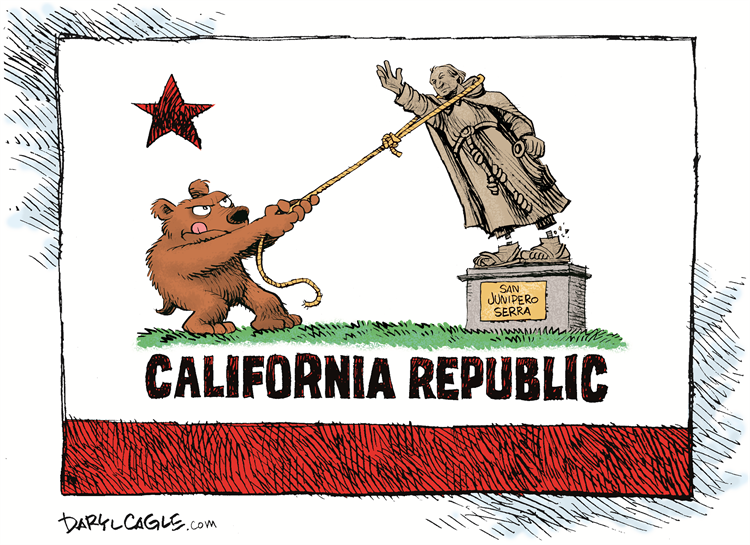 Here's my newest cartoon about #californiaprotest tearing down statues of Padre Junipero Serra Read more on my blog at: https://t.co/Bv3I32laQ3 Subscribe for free: https://t.co/Q9T1TWi9rw Support the Cartoonists: https://t.co/zUIYTIAbVg #protest #protests #protests2020 #monument https://t.co/NdklUb7AFQ