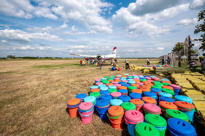 #feelgoodfriday How many buckets can fit in one small aeroplane? Which colour would you choose? We love that we were able to transport relief supplies to support the disaster response for flood victims in Kasese, western Uganda recently. . . #maf #uganda #iflymaf #flyingforlife