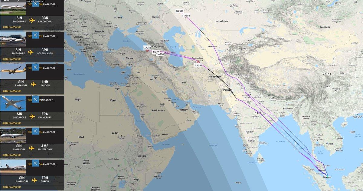 シンガポール航空のヨーロッパ線、エアバスA350-900配置。シェア争いSQはボーイングよりもエアバスが優位になってる。 https://t.co/QLd8Jgf0JT