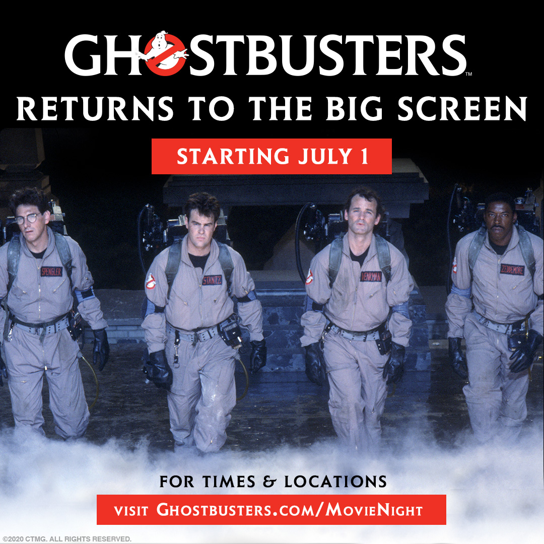 We know you've been waiting. We're honoring #GhostbustersDay on July 1 by bringing #Ghostbusters back to the big screen! 📣 For a limited time, the original 1984 movie will play at theaters and drive-ins with a special message for the fans.  Get tickets: https://t.co/m2ioaiiKAP! https://t.co/sbhwENwpIf