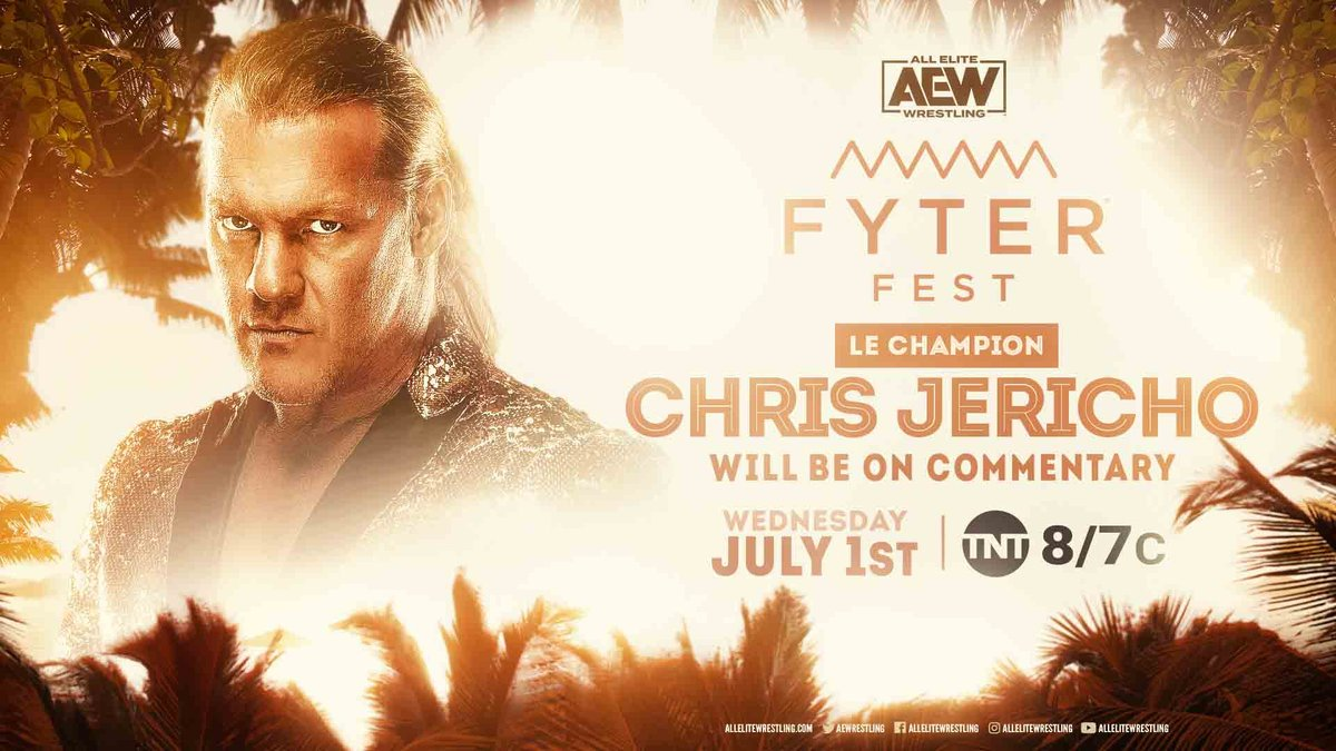 Next week at #FyterFest #LeChampion @IAmJericho will be on commentary calling the action! Watch night one of #FyterFest for FREE on Wednesday, July 1st, at 8e7c on @TNTDrama.