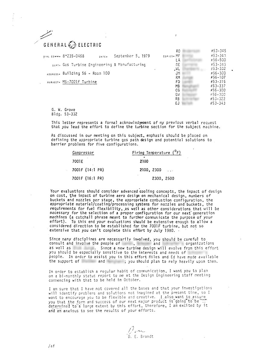 View the original letter that Don Brandt-head of engineering in 1979-wrote to the GE teams to start the F-Class gas turbine program. A commitment to deliver the highest performance & fuel flexibility for customers was as clear then as it is today. https://t.co/ZjghgaBhWz #GEProud https://t.co/0wbW07w3t8