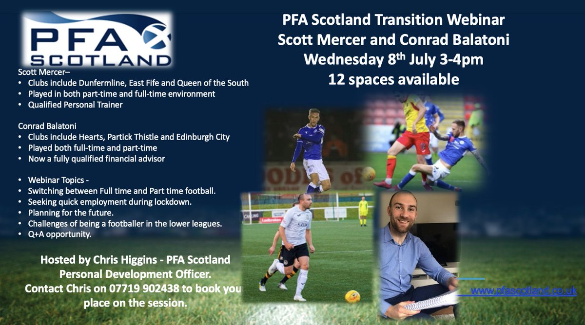 ⚽️Sign up for our 2nd #TransitionMonth webinar⚽️ Hear from @conradbalatoni who started his own financial planning business while playing for @EdinburghCityFC & @scottmercer8 on the merits of full/part time football and finding a job in #lockdown. Contact @ChrisPFAS 07719 902438 https://t.co/jxOznZAXSq