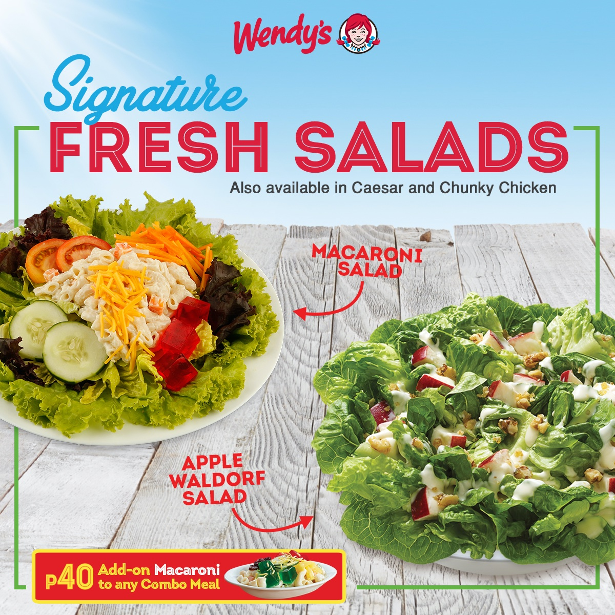 Go for some fresh greens with Wendy's Signature Salads. Paired best with Dave's Burgers!  Order for dine-in or take-out at your nearest Wendy's today! Also available for delivery via 8-533-3333 or https://t.co/JN0EZHgSA7. https://t.co/7Swvei6Dul