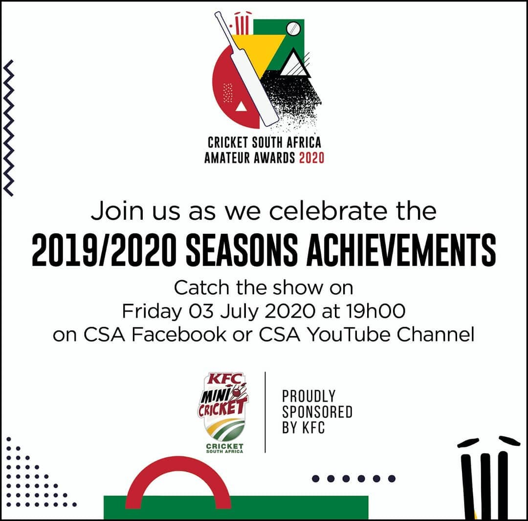 Catch the Amateur Cricket Awards live tonight at 7pm on  the CSA YouTube or Facebook page.  Proudly produced by Vision View Productions. http://www.visionview.co.za  #awardsceremony #livestreaming #awardshow #cricket #lockdowndiaries #lockdownlevel3pic.twitter.com/WYTvFCZgRe