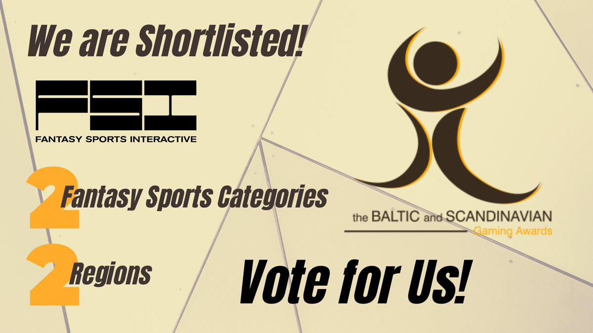 #FSI made the #shortlist for the #BSGAwards2020!#VoteforUs in the Categories:  Best #FantasySports / #VirtualSports Provider #RisingStar in Fantasy Sports / Virtual Sports   In both #Baltics and #Nordics! Vote for us at the #MAREBALTICUMGamingSummit and #BSGAwards!pic.twitter.com/5MAb4n7OiT