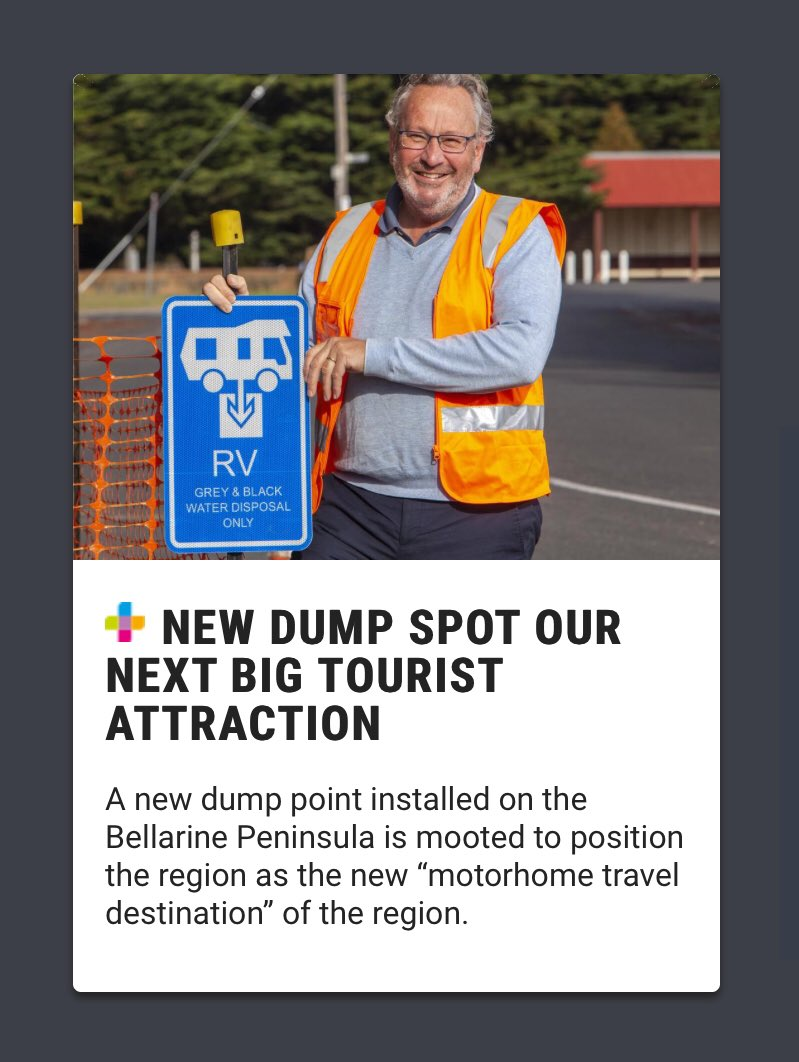 @Martin_Sanna @LeGrandeWee @cory_dmc @Waveline2shore  Remember in the past weeks a camper van dumping point was hyped as a New Attraction for Queenscliff a G21 Member and Advocate by the @geelongaddy  Well  You can't make this shit uppic.twitter.com/L0dHbGEhye