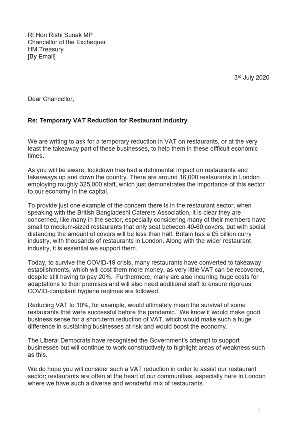 This morning @LondonLibDems colleagues have joined me in writing to @RishiSunak, calling for a temporary reduction in VAT on the restaurant industry in light of the challenges stemming from #COVID19. This is especially important in #London You can read the full letter below⬇️