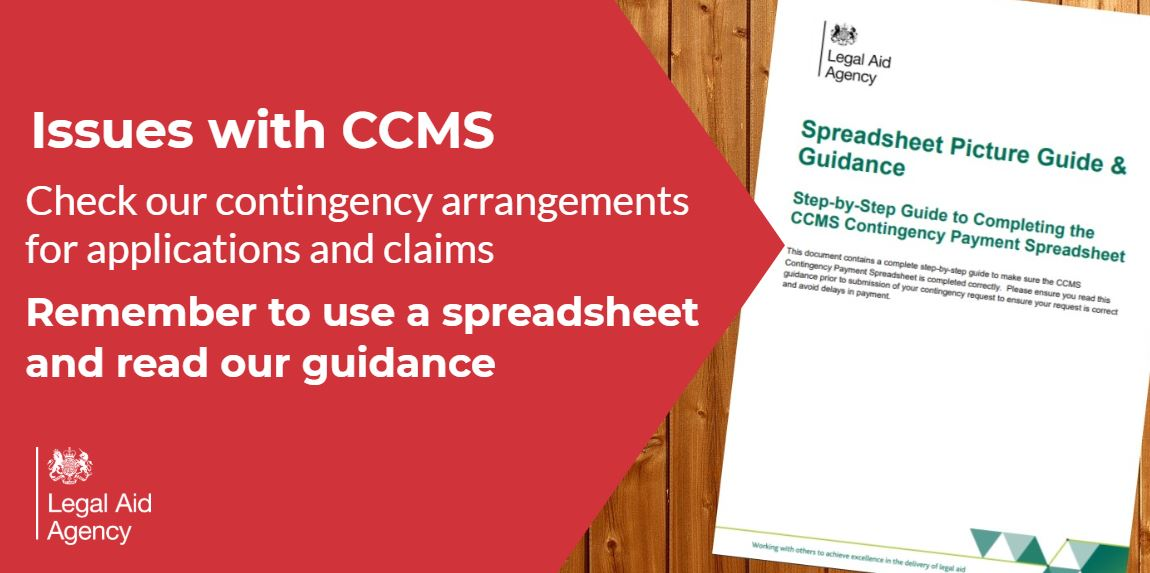 We're continuing to repair CCMS and contingency arrangements for making civil claims are in use.   Make sure you send us a spreadsheet before 12pm on Monday   Read our guide available on how best to display information 👇  https://t.co/erfI77txGv  #legalaid #lawfirms #legal https://t.co/lBtBQgiP84
