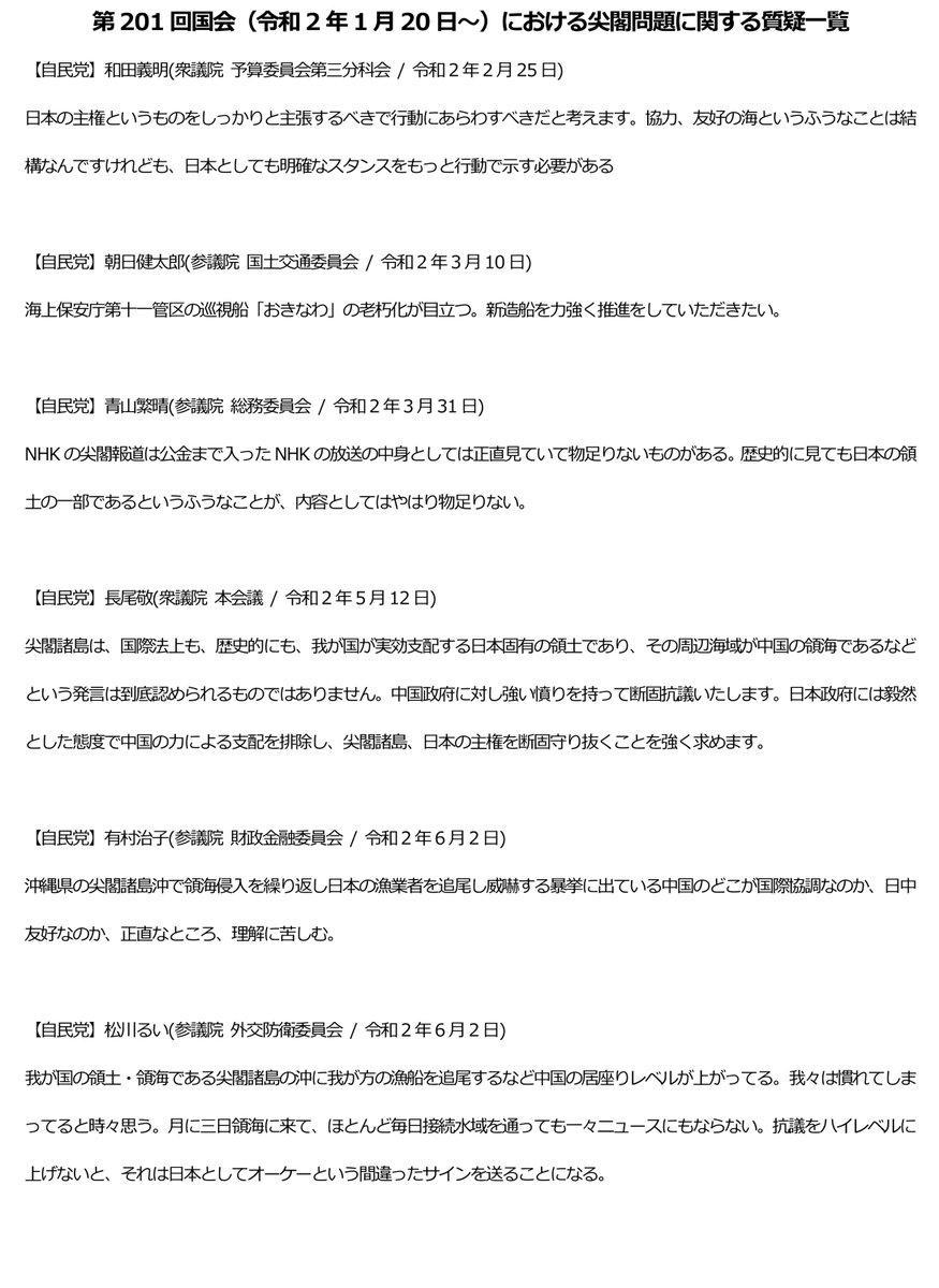 第201回国会(令和2年1月20日~)における尖閣関連質疑一覧 https://t.co/2R05PyHZOZ