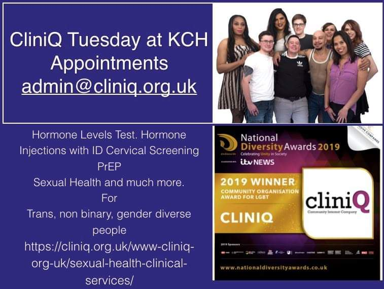 CliniQ Tuesday Service @KingsCollegeNHS is by Appointments admin@cliniq.org.uk. Hormone Levels Testing. Hormone & other injections. Cervical smears. Sexual Health. PrEP and more all by appointment. #TransHealthMatters #Trans #Nonbinary #GenderDiverse 💜