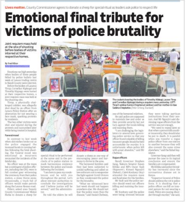 Innocent Kenyans who did not deserve to die by the bullet.  We demand immediate investigations of the incident and prosecution of the perpetrators.   #TekelezaKatiba #SabaSabaMarchForOurLives https://t.co/hC1KrPlBJM