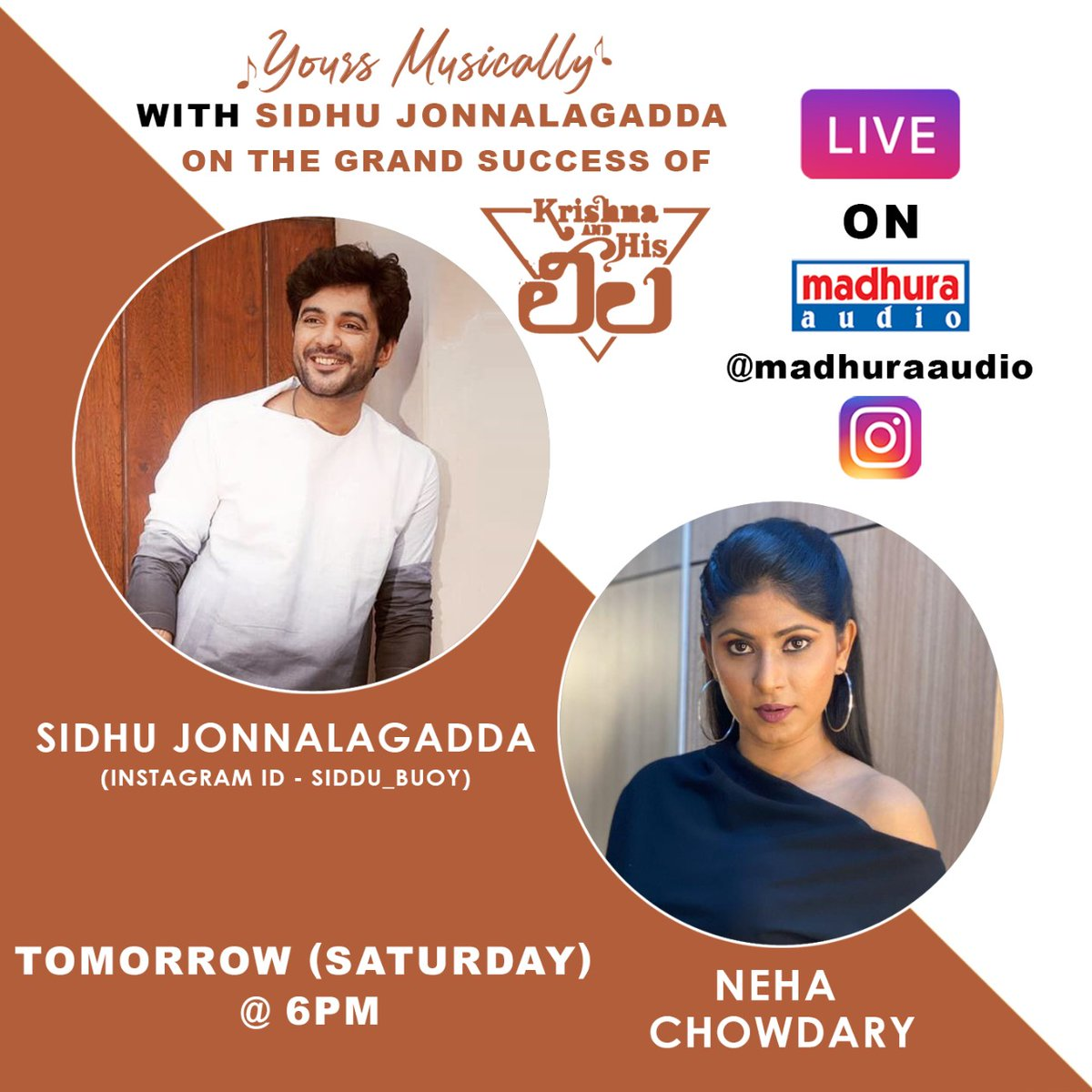 Wooahh Look Here @Siddu_buoy Is Joining With Us In Live Tomorrow At 6 PM With Anchor @thenehachowdary Stay Tuned To @MadhuraAudio Insta Live  #YoursMusically #TeluguMusic #telugumusically #TeluguIndependentMusic #originalmusic #telugumusic #telugumusicalworld #madhuraaudiopic.twitter.com/uggX3xKLAd