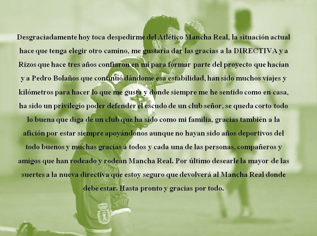 Gracias Garrido por defender al equipo estos últimos tres años, aquí tienes tu casa en Mancha Real, te deseo mucha suerte en tu futuro!!! @MGarrido_11