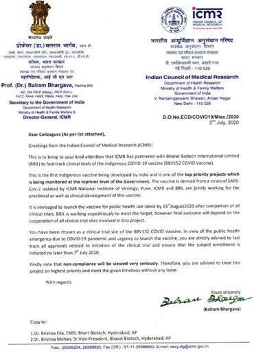 If this letter is genuine, then ICMR really has much to answer. Vaccines don't work to threats and deadlines (not six week deadlines for sure) only because netas may like to do chest thumping on August 15. Please take medical science seriously ICMR/GOI. https://t.co/7NOXhh4ztF