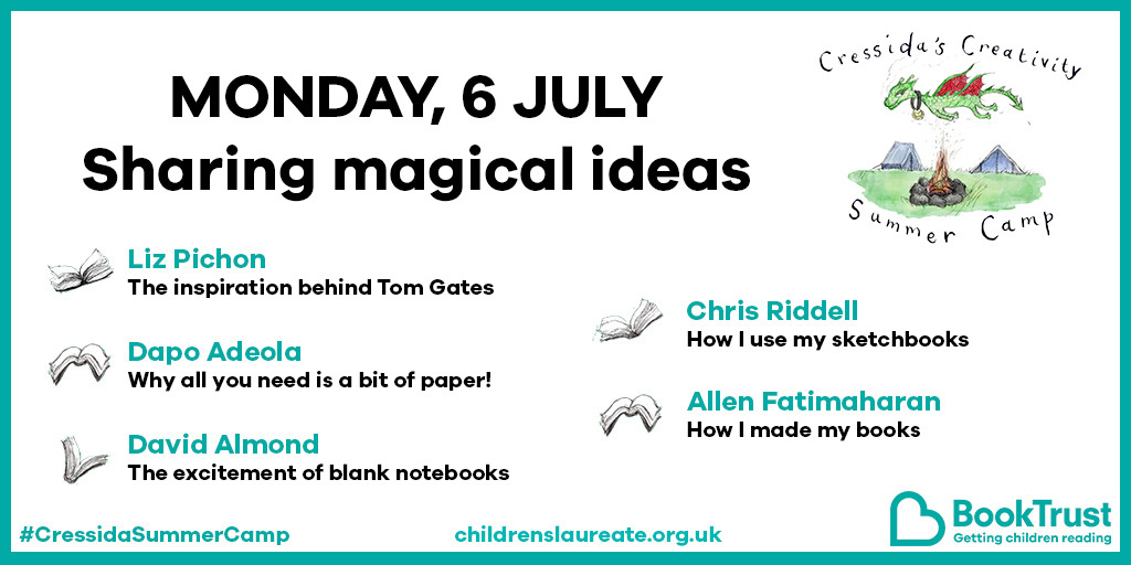 The Creativity Summer Camp starts on Monday, with the below AMAZING line-up of @LizPichon @DapsDraws @davidjalmond @chrisriddell50 Allen Fatrimaharan, and we will also be opening the Laureate Gallery, all FREE on the @Booktrust website #magicideas #letsgetcreating https://t.co/cWKd14XR9j
