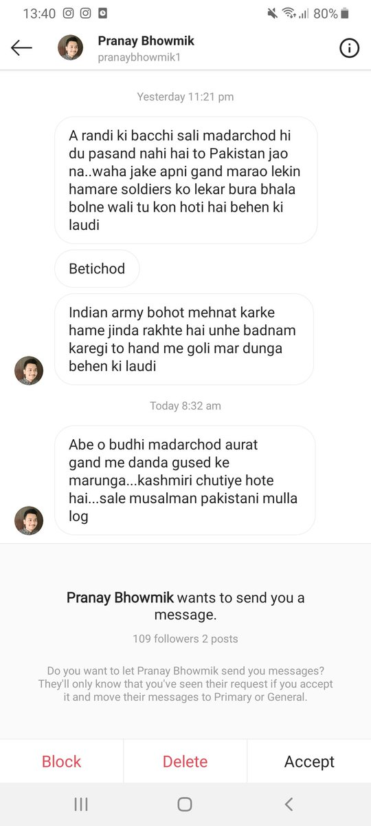 My timeline, my inbox is inundated with death and rape threats the last two days for speaking on Kashmir