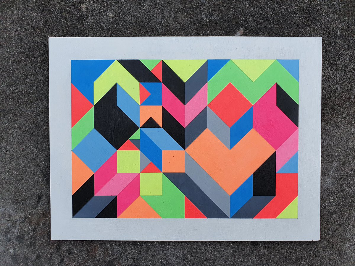 Big up to Carl Cashman! One of six new pieces, available 3pm today for the launch of Lost Horizon. He's generously donating 50% of profits to @bigissueuk & @amnestyuk. http://carlcashman.bigcartel.com   #losthorizonfest #ShangrilART #ArtIsForEveryone #opart #geometry #patternpic.twitter.com/mjTtrUw8yK