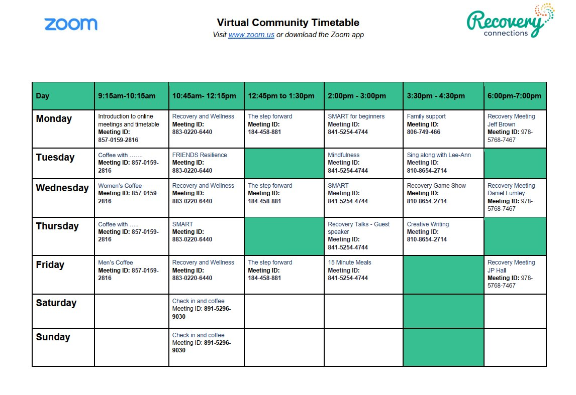 Our virtual #community timetable now covers 7 days of the week. Head over to Facebook to find out more information. 💜 #RecoveryIsPossible #Middlesbrough https://t.co/6W86Szf1Tt