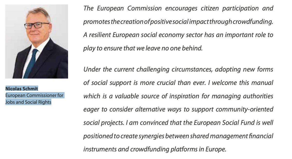 Foreword by Commissioner @NicolasSchmitEU and  EIB VP @LilyanaPavlova  on the @ficompass Manual on #Crowdfunding and #ESF. @eurocrowd is very proud to be able to bring this conversation forward in the next webinar on 6/07. Registration open until 12 today: https://t.co/fQk3G2ZWNJ https://t.co/zJBe0dD9fw