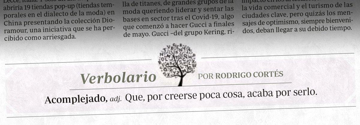 «Acomplejado»; 26/junio/2020: voz n° MDCCLXXVII @rodrigocortes https://t.co/SRXxpEc1no