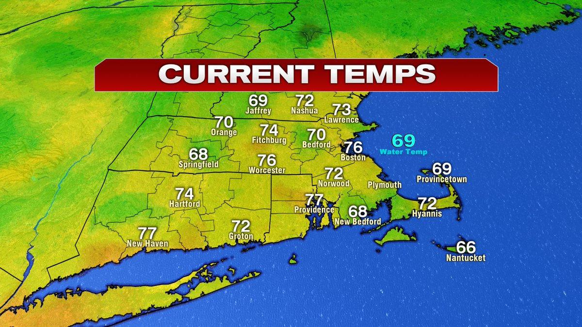 Mild and muggy start. 76 in Boston right now is wamer than what it'll be this afternoon in the city.
