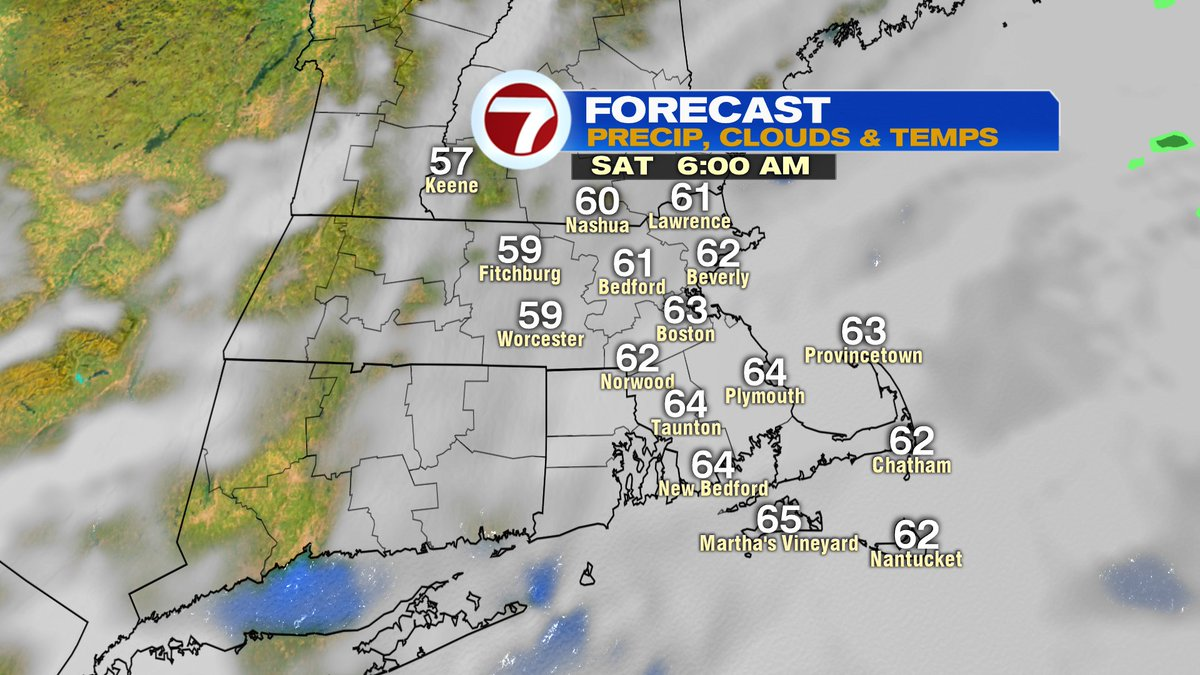 Low clouds start tomorrow. Near 60. Patchy drizzle, spotty showers possible across SE Mass early.