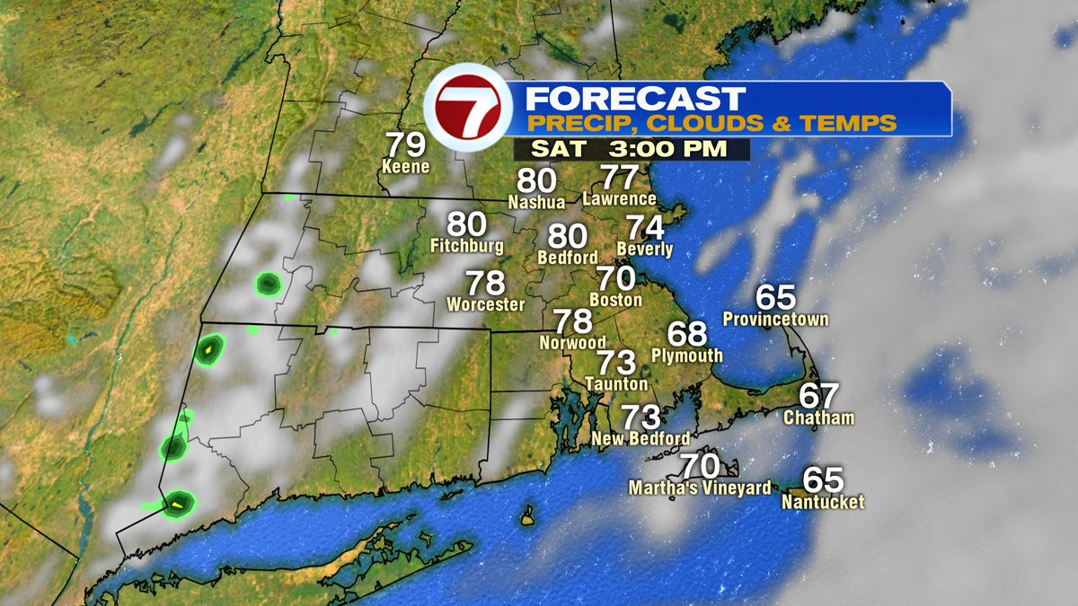 Partly sunny tomorrow afternoon. 75-80 inland, near 70 at the coast.