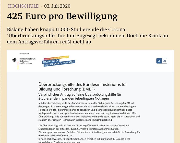 425 Euro pro Bewilligung Bislang haben knapp 11.000 Studierende die #Corona-#Überbrückungshilfe für Juni zugesagt bekommen. Doch die Kritik an dem Antragsverfahren reißt nicht ab. @BMBF_Bund @DSW_Tweet Im Blog: jmwiarda.de/2020/07/03/425…