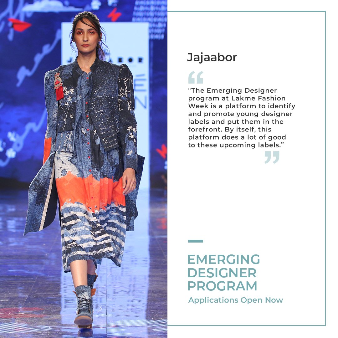 Befitting present-day Indian, #Jajaabor is renowned for creating designs that showcase a groundbreaking synthesis of culture meets universal.  Apply for the #EmergingDesignerProgram here - https://t.co/lczh6PSJXA  #LFW #LFW2020 #5DaysOfFashion #LakmeFashionWeek https://t.co/gg7eY3vDJS